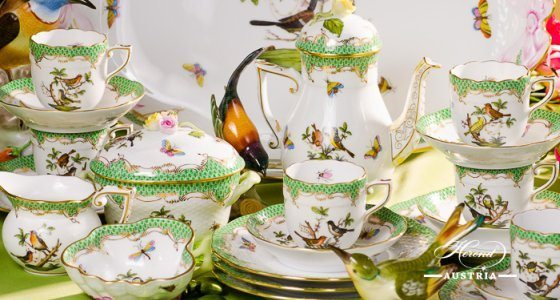 Coffee Set for 6 Persons Rothschild Bird RO-ETV Green Fish scale pattern - Herend porcelain hand painted.