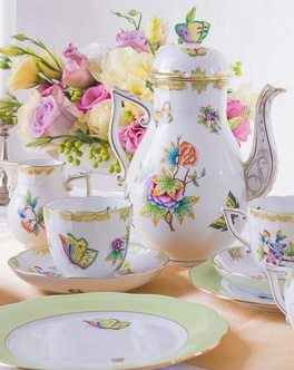 Coffee Set for 2 Persons Queen Victoria VBO pattern - Herend fine china hand painted.