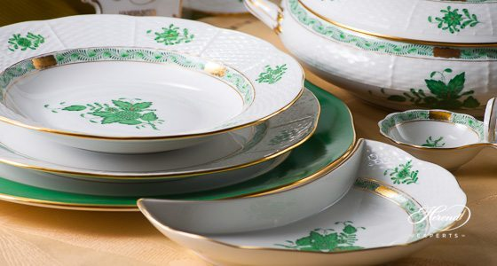 Dinner Set for 2 Persons - Chinese Bouquet Green / Apponyi Green decor. Herend porcelain hand painted