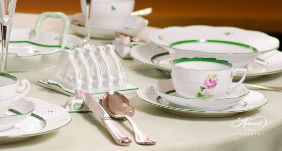 Dinner Set Vienna Rose - VRH green pattern - Herend porcelain hand painted.