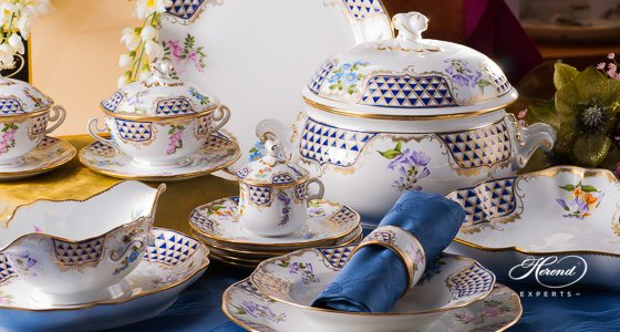 Dinner Set for 4 Persons - Herend Mosaic and Flowers MTFC decor. Herend porcelain tableware. Hand painted
