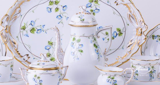 Coffee Set for 2 Persons Nyon - Morning Glory pattern - Herend porcelain hand painted.