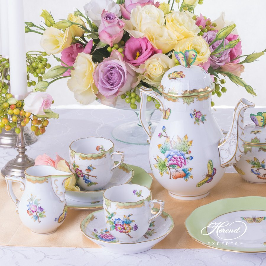 Mocha Set for 2 persons Queen Victoria VBO pattern - Herend porcelain hand painted.
