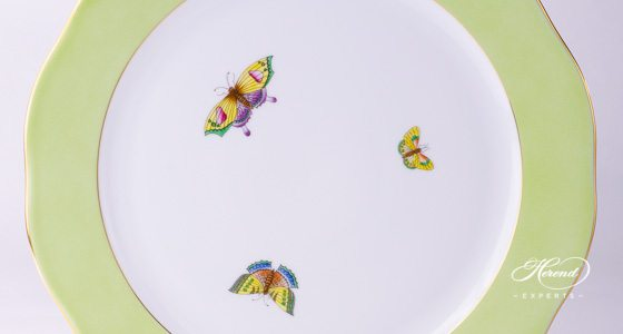 Serving Plate with Butterflies Green edge - for Queen Victoria VBO pattern - Herend porcelain.