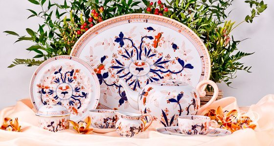 Tea Set for 2 Persons Canton pattern - Herend porcelain hand painted.