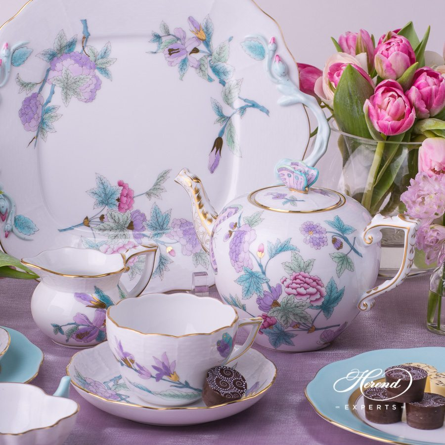 Tea Setfor2 PersonsRoyal Garden EVICT2 and EVICTF2 patterns. Herend porcelain hand painted