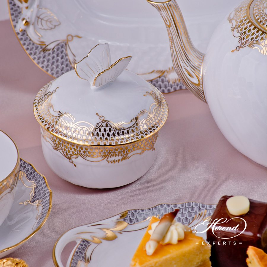 Tea Set for2 Persons Gold Fish ScaleA-ETOR pattern. Herend porcelain hand painted