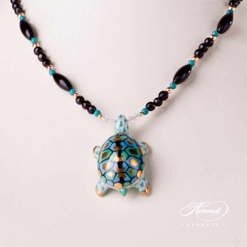 Herend Jewellery Turtle Necklace 15529-0-47 VHV Green fish scale decor
