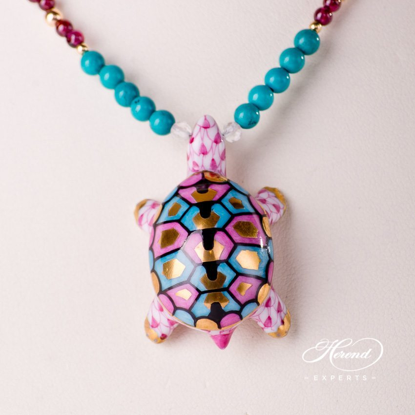 Herend Jewellery Turtle Necklace 15529-0-47 VHP Purple fish scale decor