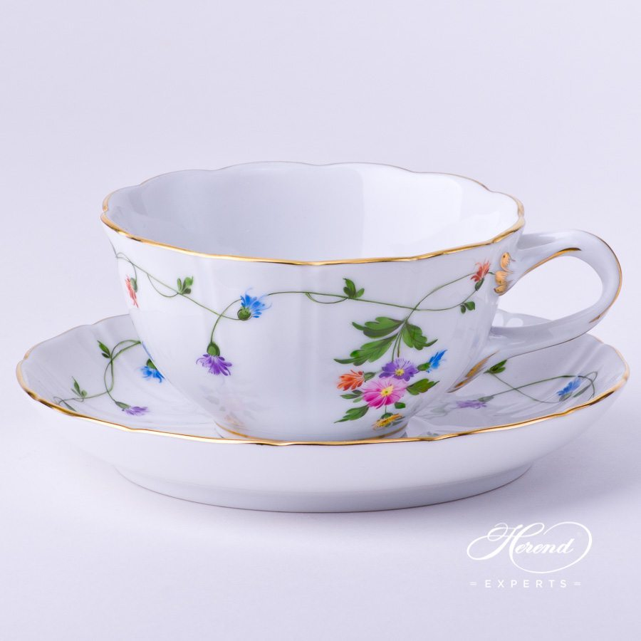 Tea Cupwith Saucer4247-0-00 IAVT Imola Colored decor. Herend porcelain tableware. Hand painted