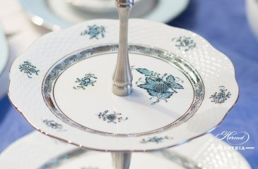 Cake Stand 2 Tier 308-0-91 ATQ3-PT Apponyi Turquoise pattern. Herend fine china hand painted