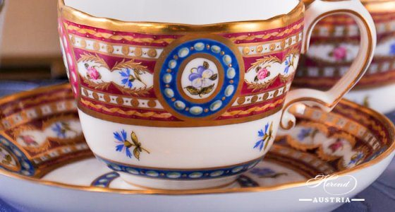 Coffee / Espresso Cup and Saucer 3599-0-00 EGAVT Silk Brocade / Eglantine pattern. Herend fine china