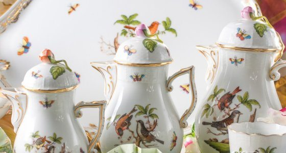 Coffee Pots - Herend Rothschild Bird RO pattern