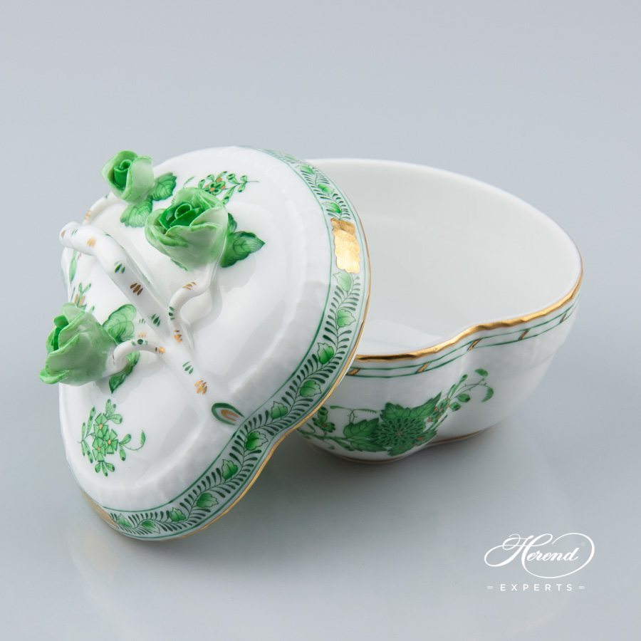 Bonbonniere Heart Shaped 6000-0-02 FV Indian Basket Green pattern - Herend porcelain hand painted.
