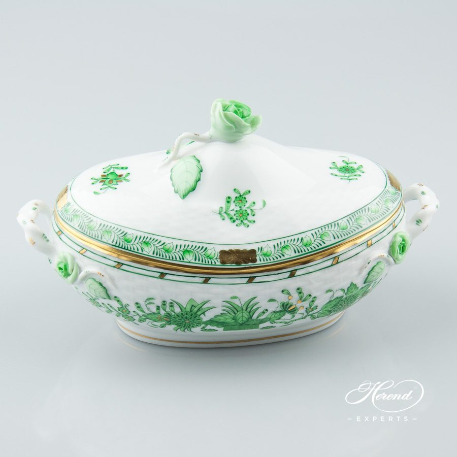 Fancy Box / Bonbonniere w. Rose Knob 6010-0-09 FV Indian Basket Green pattern. Herend fine china hand painted. Classic Herend pattern