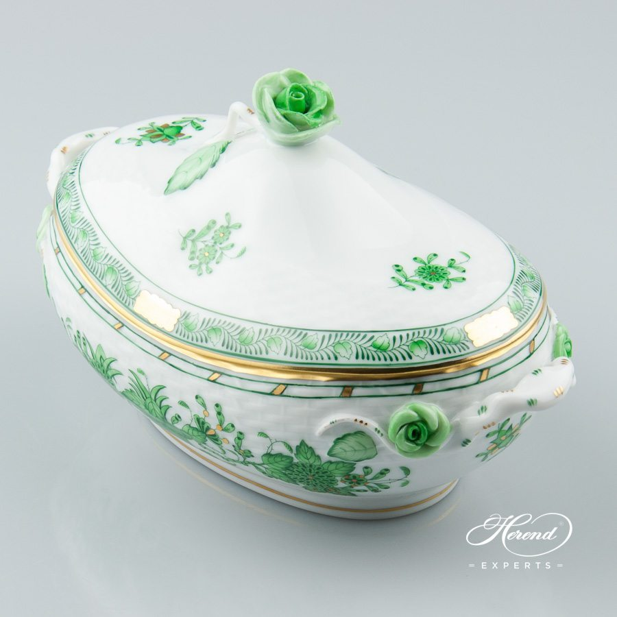 Bonbonniere with Rose Knob 6010-0-09 FV Indian Basket Green pattern - Herend porcelain hand painted.