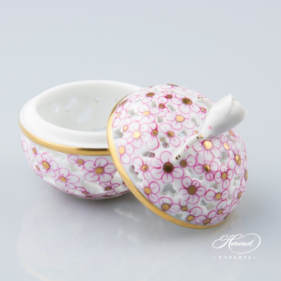 Bonbonniere with Bud Knob - Open work 6219-0-12 CORP Pink pattern - Herend porcelain.
