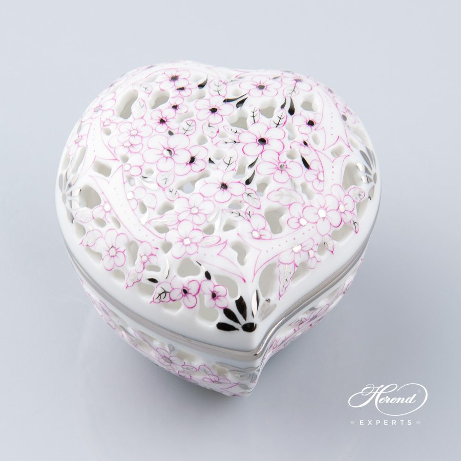 Bonbonniere - Heart Shaped 6202-0-00 CPTP Pink Flowered decor with Platinum - Herend porcelain hand painted.