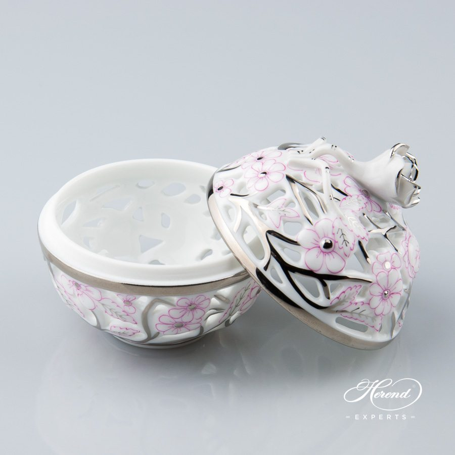 Bonbonniere Open Work 6215-0-09 CPTP Pink pattern - Herend porcelain hand painted.