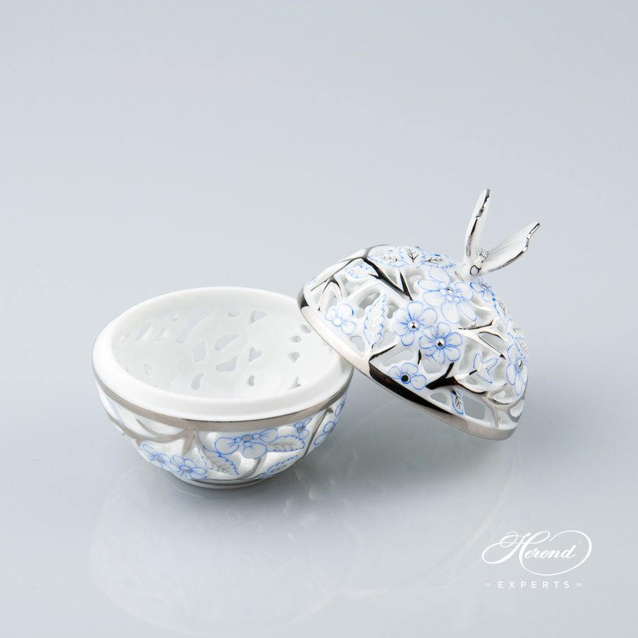 Bonbonniere Open Work 6215-0-17 CPTB Blue with Platinum pattern - Herend porcelain.