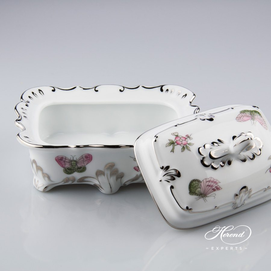 Fancy Box 7847-0-02 VBOG-X1-PT Queen Victoria Platinum pattern - Herend porcelain.