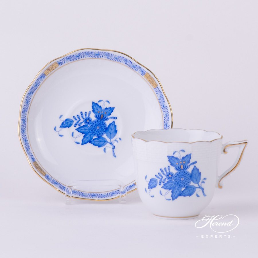 Coffee Cup with Saucer 706-0-00 AB Apponyi Blue - Chinese Bouquet pattern - Herend porcelain hand painted.
