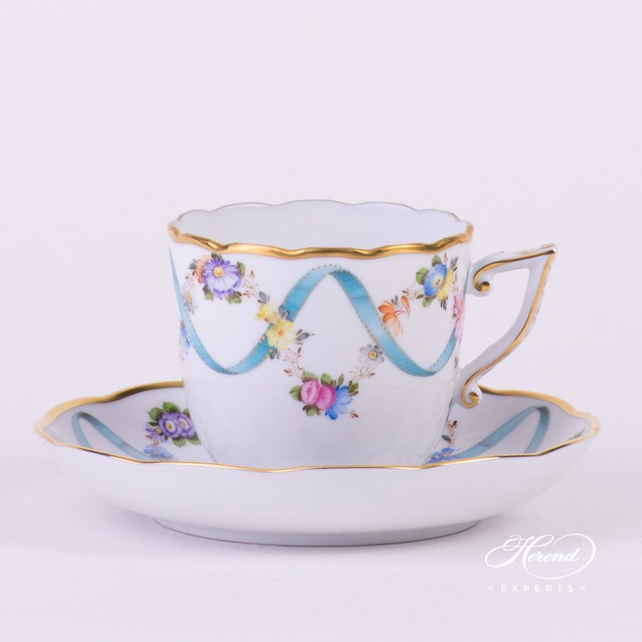 Coffee Cup with Saucer 20706-0-00 FLR Flower Garland with Ribbon decor. Herend porcelain hand painted