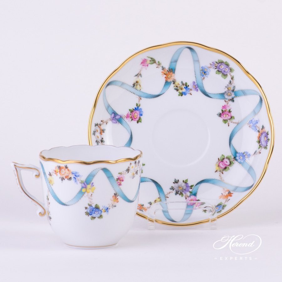 Coffee Cup - Flower Garland with Ribbon | Herend Experts