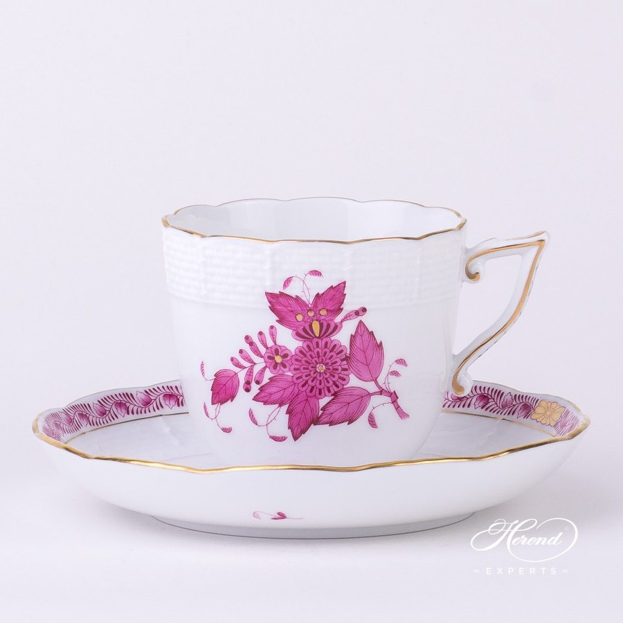 Coffee Cup with Saucer 706-0-00 AP Apponyi Pink - Chinese Bouquet pattern - Herend porcelain hand painted.