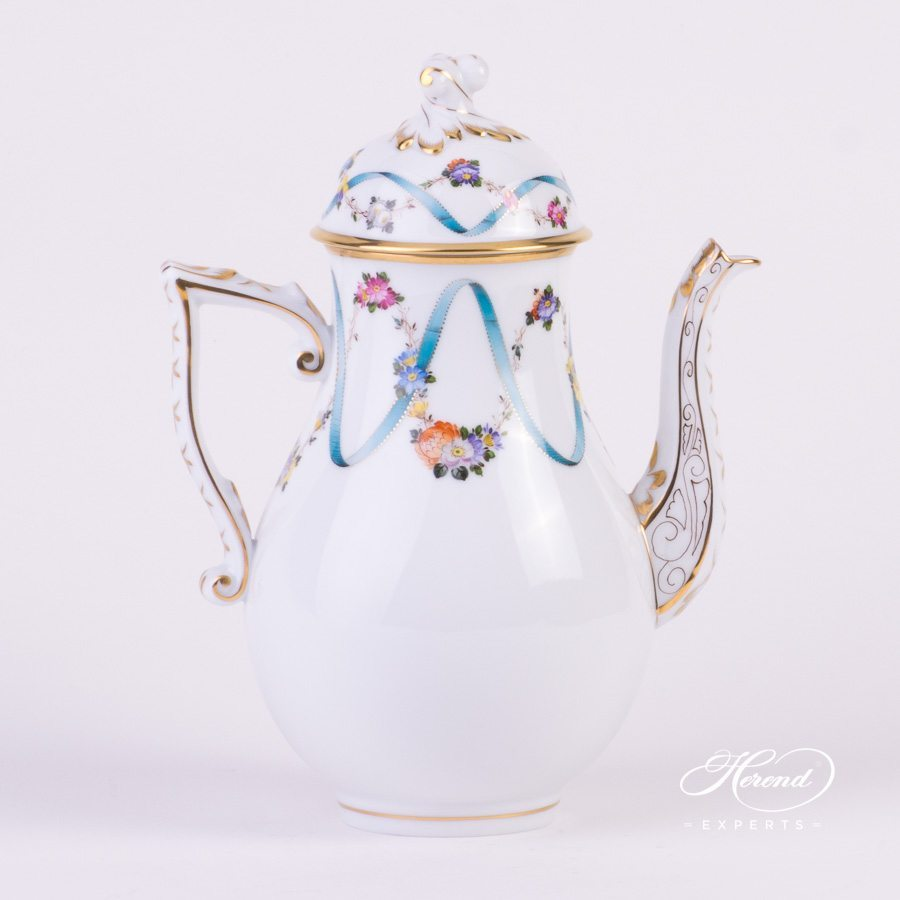 Coffee Pot with Twisted knob 20613-0-06 FLR Flower Garland with Ribbon decor. Herend porcelain hand painted