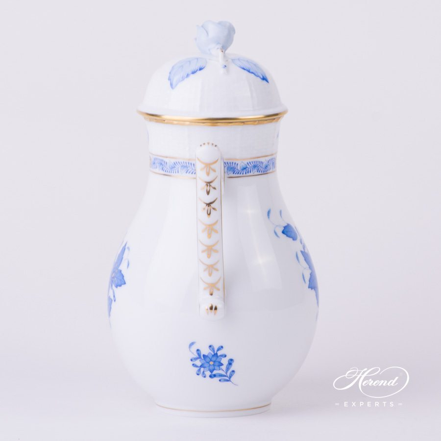 Coffee Pot with Rose Knob 613-0-09 AB Apponyi Blue. Herend porcelain hand painted