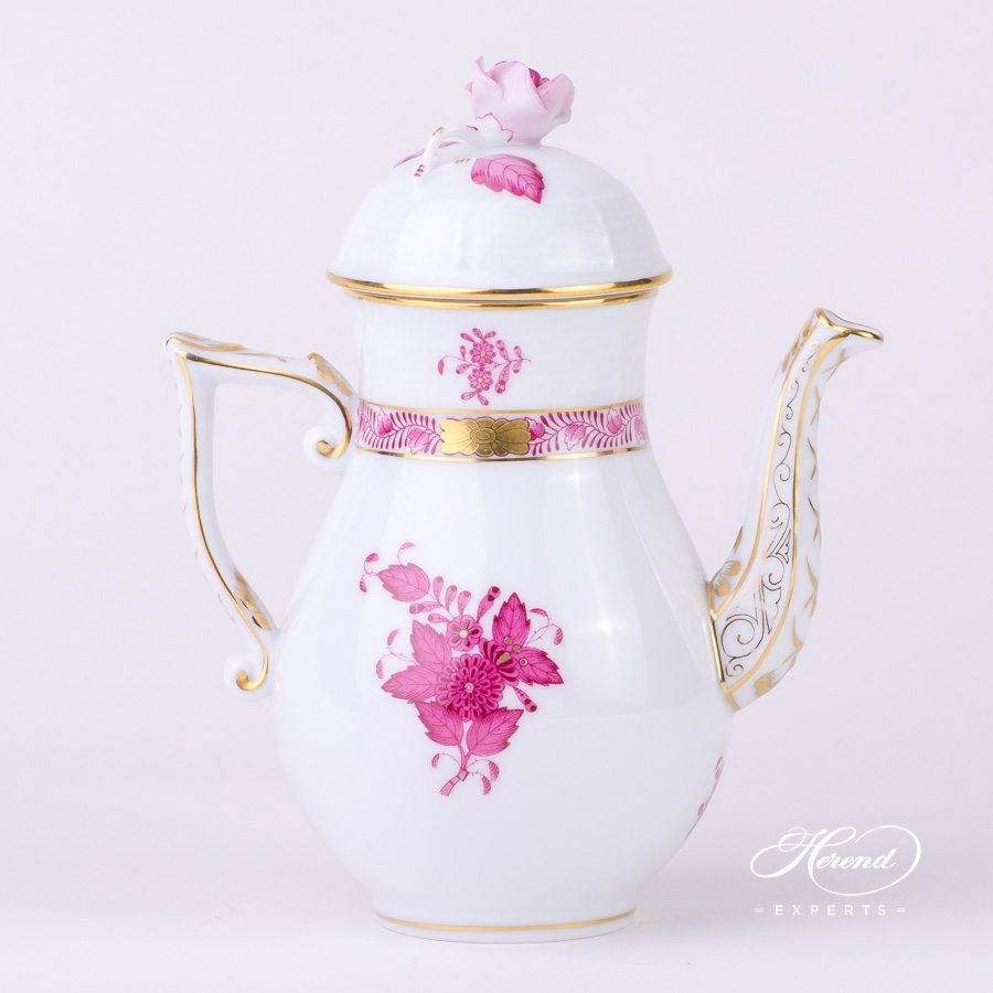 Coffee Pot with Rose Knob 613-0-09 AP Apponyi Pink - Chinese Bouquet pattern - Herend porcelain hand painted.