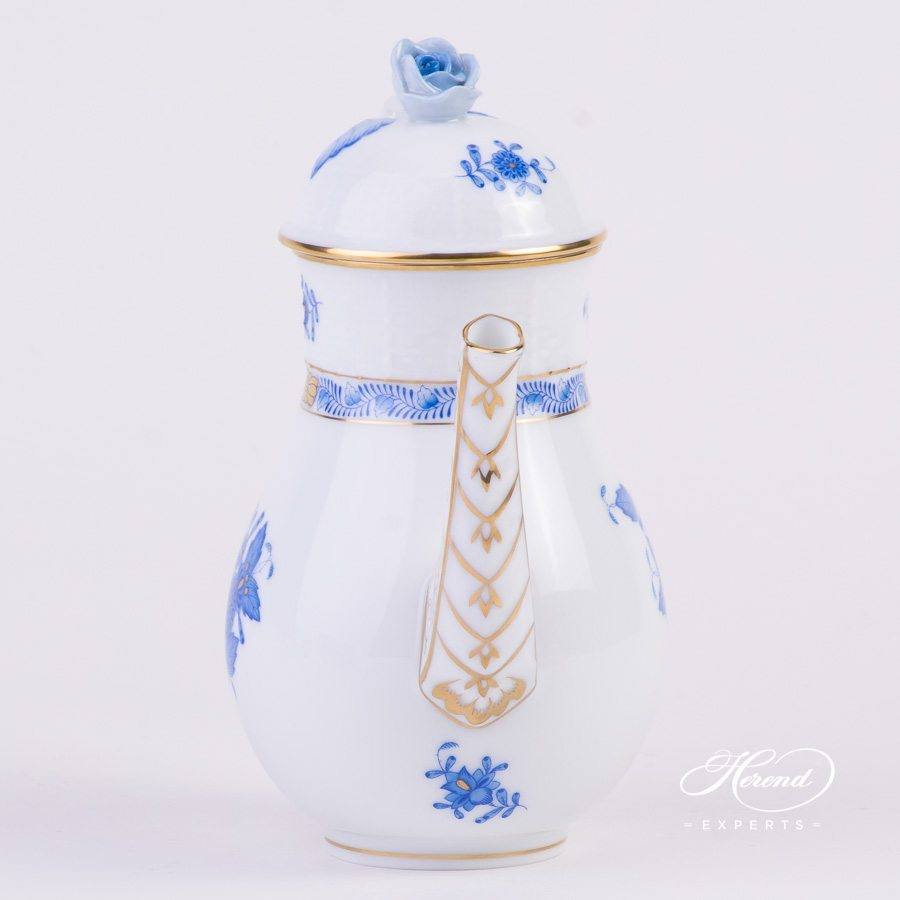Coffee Pot or Mocha Pot with Rose Knob 615-0-09 AB Apponyi Blue decor. Herend porcelain hand painted