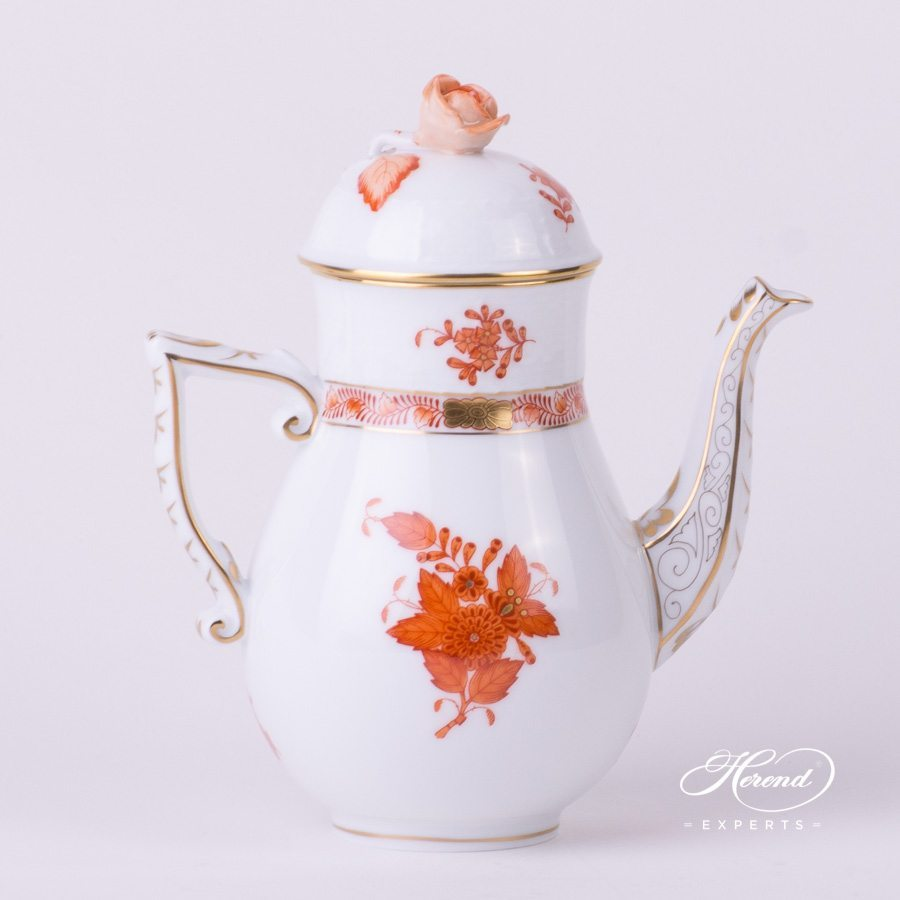 Coffee Pot with Rose Knob 615-0-09 AOG Chinese Bouquet Rust / Apponyi Orange decor. Herend porcelain hand painted
