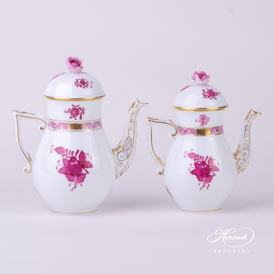 Coffee Pot 614-0-09 AP and Mocha Pot 615-0-09 AP Apponyi Purple. Herend porcelain hand painted