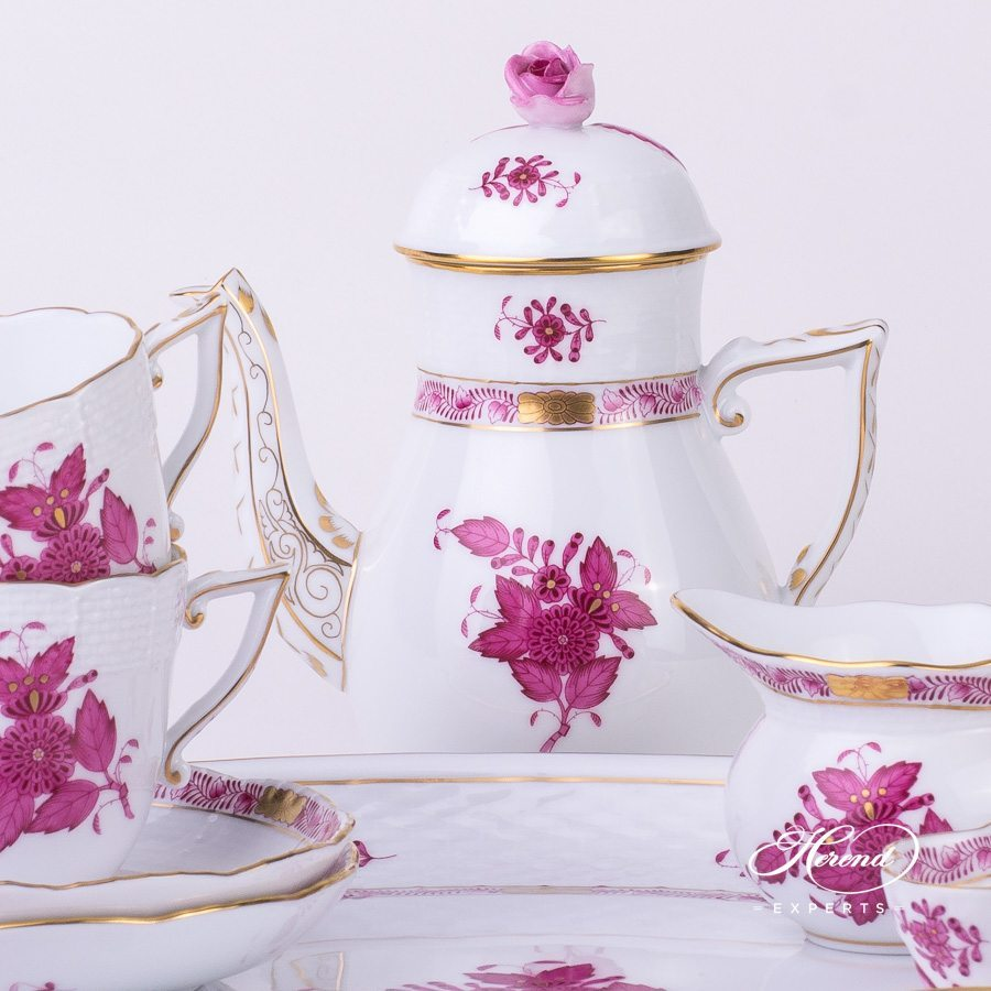 Coffee Set for 2 Persons Apponyi AP pink pattern - Herend porcelain hand painted.