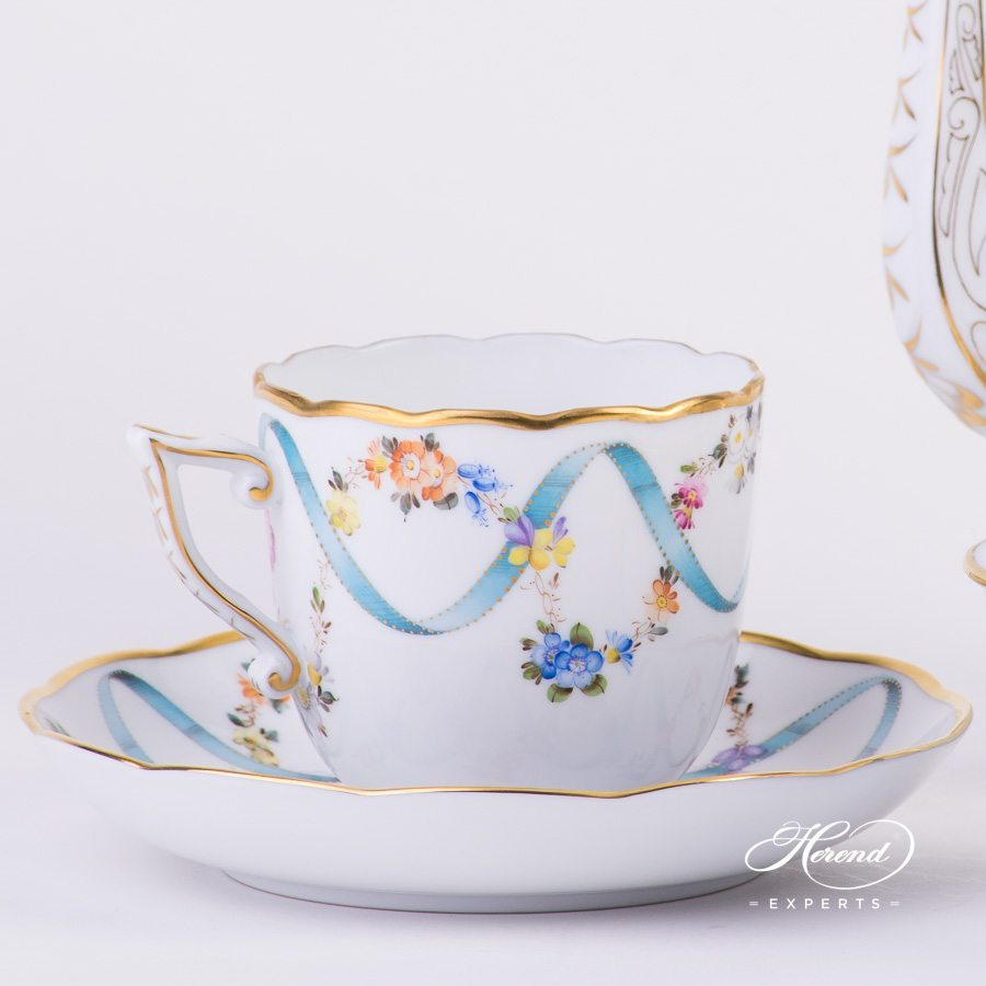 Coffee Set for 2 Persons Flower Garland with Ribbon FLR flower decor. Herend porcelain hand painted
