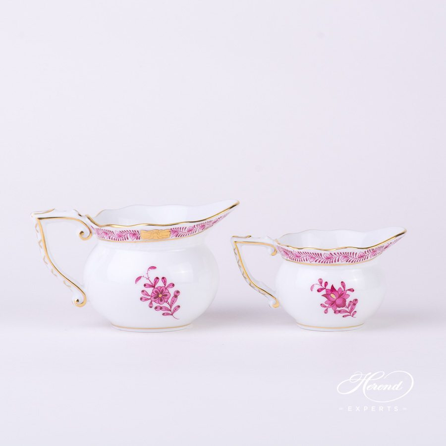 Creamer 644-0-00 AP and 645-0-00 AP Apponyi Pink - Chinese Bouquet pattern - Herend porcelain hand painted.