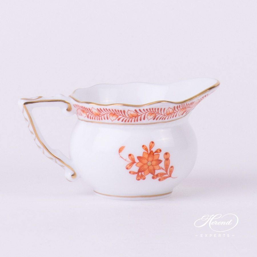 Creamer 645-0-00 AOG Chinese Bouquet Rust / Apponyi Orange decor. Herend porcelain hand painted
