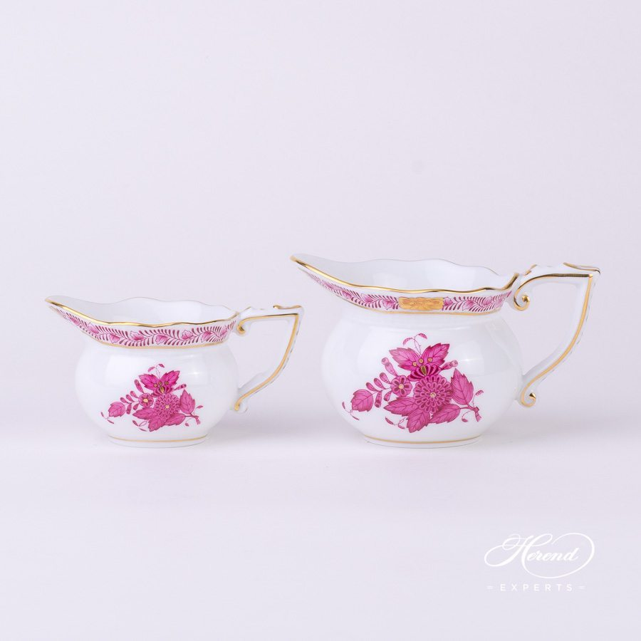 Creamer 645-0-00 AP and 644-0-00 AP Apponyi Pink - Chinese Bouquet pattern - Herend porcelain hand painted.