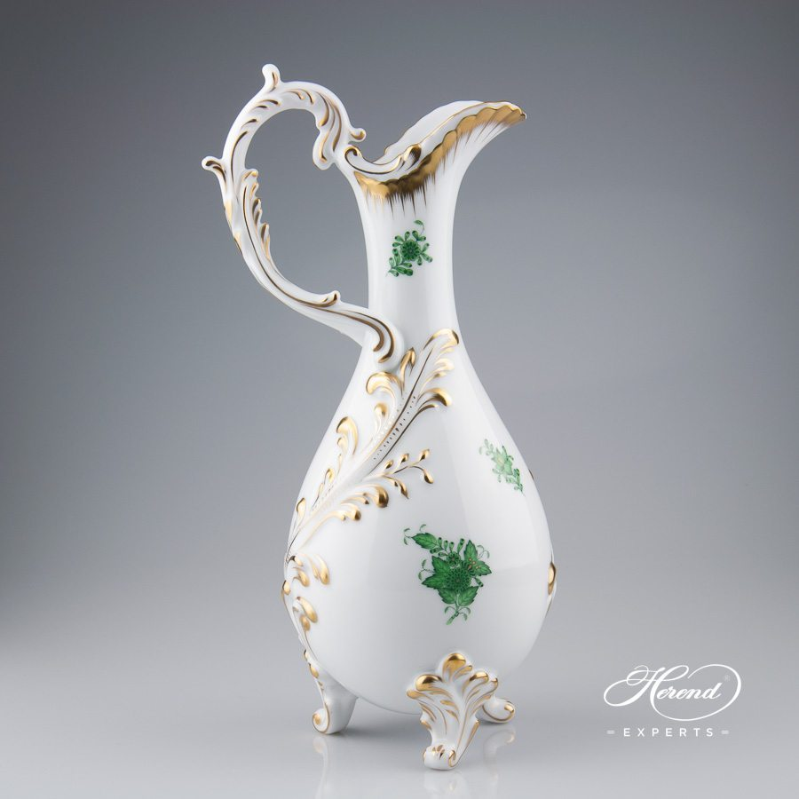 Fancy Jug 7598-0-00 AV Chinese Bouquet Green / Apponyi Green decor. Herend porcelain hand painted. Classic Herend pattern