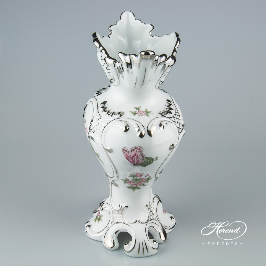 Fancy Vase 6531-0-00 VBOG-X1-PT Queen Victoria Platinum design. Herend fine china hand painted. Ornaments