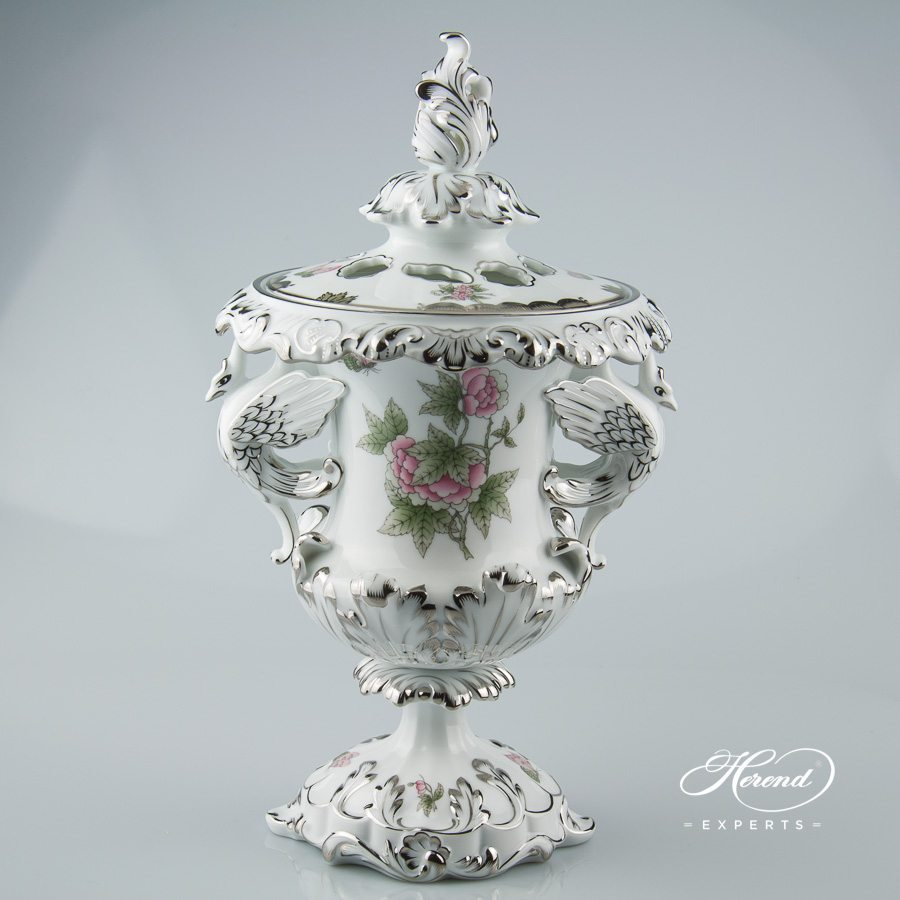 Fancy Vase w. Dragon Handles 6489-0-19 VBOG-X1-PT Queen Victoria Platinum design. Herend fine china hand painted. Ornaments