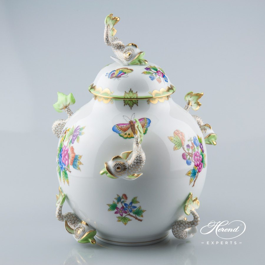 Fancy Vase w. Dolphins 6084-0-18 VBO Queen Victoria design. Herend fine china hand painted. Ornaments