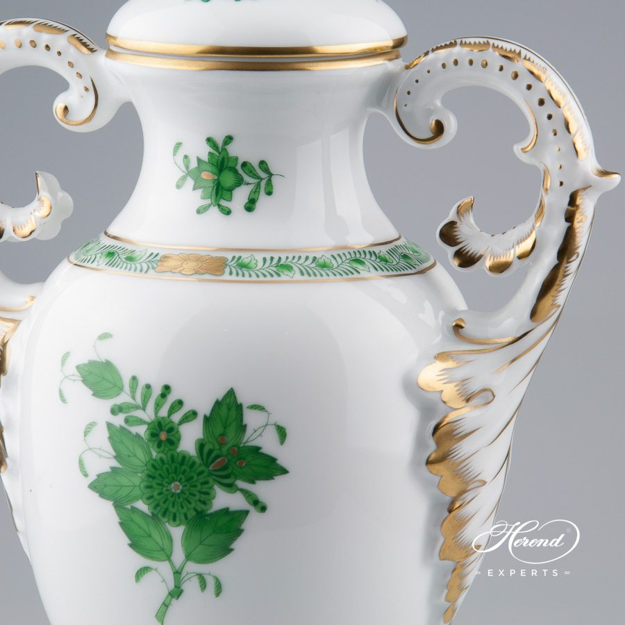 Fancy Vase with Lid 6492-0-23 AV Chinese Bouquet Green / Apponyi Green decor. Herend porcelain hand painted. Classic Herend pattern