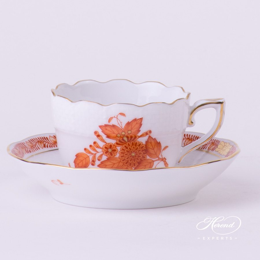 Coffee Cup with Saucer 711-0-00 AOG Chinese Bouquet Rust / Apponyi Orange decor. Herend porcelain hand painted