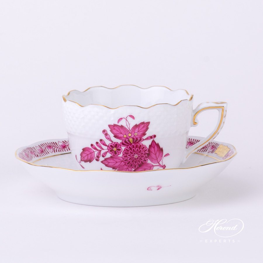 Mocha Cup with Saucer 711-0-00 AP Apponyi Pink - Chinese Bouquet pattern - Herend porcelain hand painted.