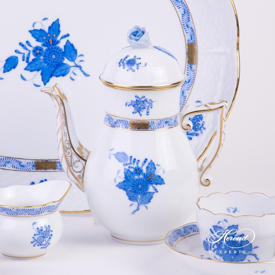 Mocha Set for 2 Persons Apponyi AB blue pattern - Herend porcelain hand painted.