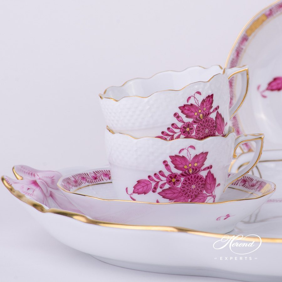 Mocha Set for 2 Persons Apponyi AP pink pattern - Herend porcelain hand painted.