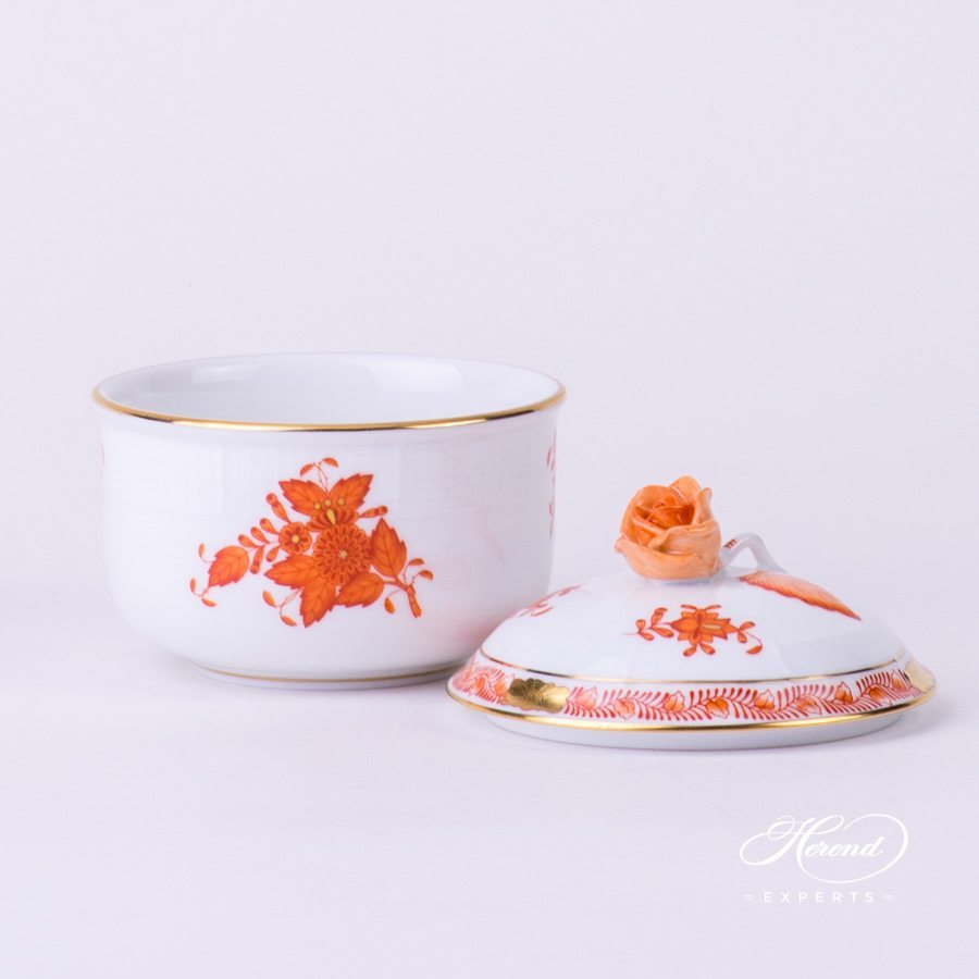 Sugar Basin with Rose Knob 463-0-09 AOG Chinese Bouquet / Apponyi Orange decor. Herend porcelain hand painted